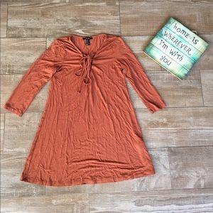 Forever 21 🍁 Burnt Orange Lace-Up Front Dress